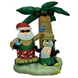 Christmas Inflatable Santa Claus on Vacation Decoration, Inflatable Christmas Decorations