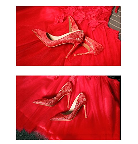 Mouth Lady 7cm Heels Vintage Elegant High Red Pointed Toe Dream Color Shoes 5cm Sexy Shallow Red 8 Size Bride 35 Silk Embroidered 5cm Sandals 10 Wedding 7cm d8TwEqEY