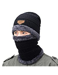 ALPSAZON Winter Hats for Men & Women, Slouchy Beanie and Scarf Set, Warm Knit Cap with Fleece Lining