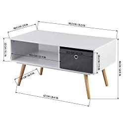 ASUUNY Modern Coffee Table, Wooden Shelf with Drawer, Natural Pine Legs for Living Room, Bedroom, Lounge, White, ALCT