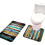 ShowerC Foam Bath Mat Set 2 Piece Bathroom Rug Set And U Shaped Toilet Mat Set Colorful Wood Grain