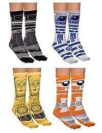 Star Wars Droids Unisex 4 Pack Jacquard Knit Crew Socks Gift Set