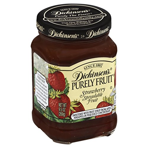 Dickinson's Purely Strawberry Spreadable Fruit, 9.5 oz (Free Sugar Jam Strawberry)