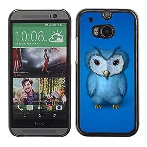 Qstar Arte & diseño plástico duro Fundas Cover Cubre Hard Case Cover para HTC One M8 ( Blue Owl Furry Baby Bird Grumpy Drawing Art)