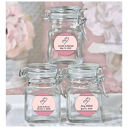 - Fashioncraft Wedding Favor, Personalized Glass Favor Jars with Lid, Interlocking Hearts Design, Weddings and Bridal Showers, Set of 30, Pink
