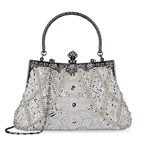 Kisschic Women's Vintage Beaded and Sequined Evening Bag Wedding Party Handbag Clutch Purse (Silver)