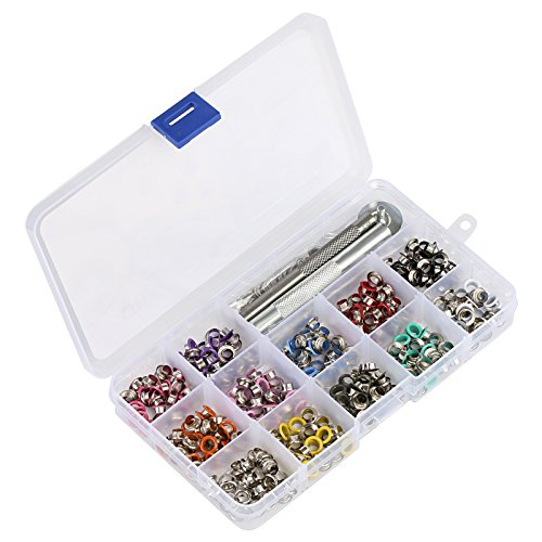 Eyelets Piece 12 (LIHAO 360 Pieces 3/16 Inch Metal Eyelets Grommets Kit - 12 Colors for Shoes Canvas Clothes Crafting)