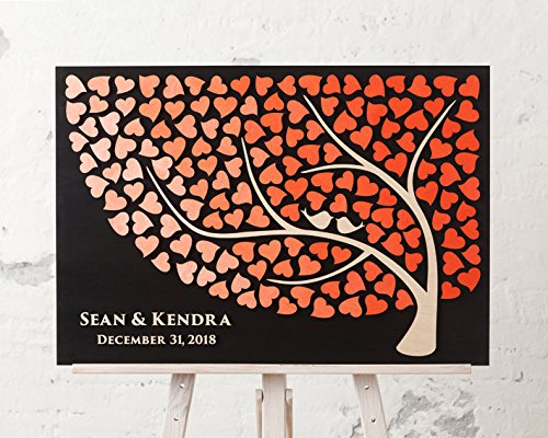 Susie85Electra Personalized wedding guest book alternative guestbook Wedding Tree Guest book Wedding Signature CUSTOM Wedding Guest book CORAL WEDDING