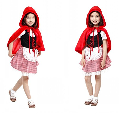 [Children's Halloween Costume Sets, Deluxe Halloween Cosplay Costume for Girls, Princess Costume for Toddler, Fancy Dress for Costume Ball (XL Size, Little Red Riding] (L Themed Costumes)
