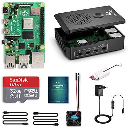 chollos oferta descuentos barato LABISTS Raspberry Pi 4 Model B Kit de 4 GB con SD de 32GB Clase 10 y 5 1V 3A Tipo C con Interruptor RPi Barebone con 3 Disipadores de Calor Ventilador Micro HDMI Lector de Tarjetas y Caja Negra