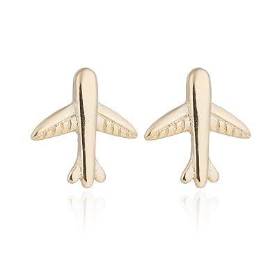 palettei Tiny Airplane Stud Pendientes - Pequeños Pendientes de avión, diseño de Temperamento Fresco: Amazon.es: Joyería