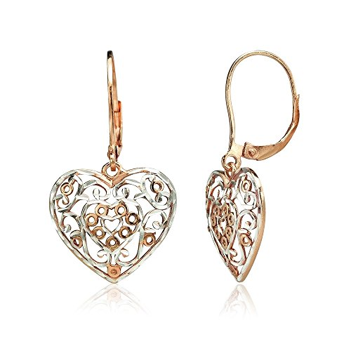 Earrings Leverback Filigree Dangle - Rose Gold Flashed Sterling Silver Two-Tone Diamond-cut Filigree Heart Dangle Leverback Earrings