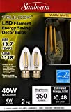 Sunbeam Trulook LED Filament Energy Saving Decor Bulbs, Warm White, 2-Pack