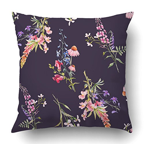 Emvency Throw Pillow Covers Green Watercolor Floral Flowers Echinacea Lupine And Blue Aquilegia Dark Pink 18 x 18 Inch Square With Hidden Zipper Polyester Home Sofa Cushion Decorative Pillowcase (Lupine Solid Green)