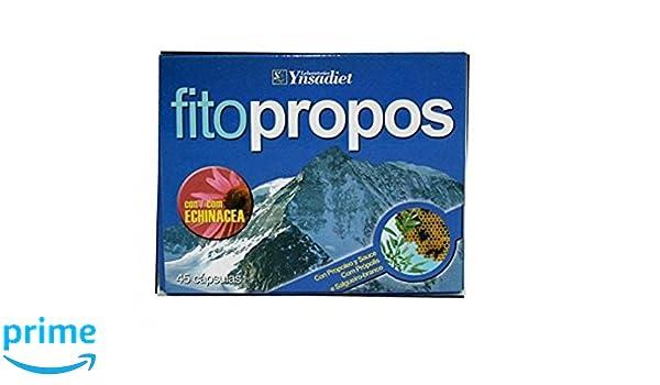 Ynsadiet Fitopropos 45 capsulas Propoleo con Echinacea, Sauce, Hierro, Zinc, Vitamina C,E y B5, Cobre, contra los resfriados y gripes, mejora el sistema ...