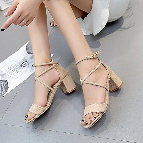 Gruesas blanco De Shoes El De Sandalias M Para Mujer Heel Correa Con De Alta GAOLIM Zapatos Ranurado Verano wRn7qzxTn1
