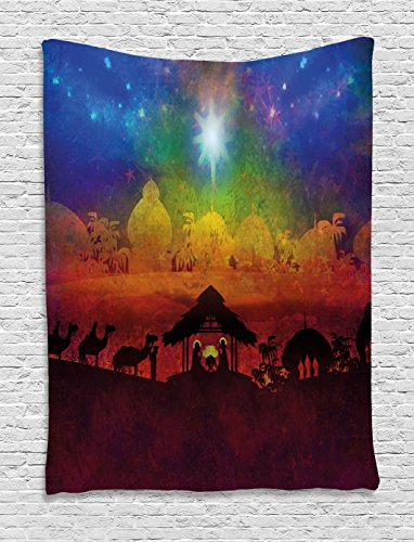 Collection Bethlehem Nativity (Ambesonne Abstract Tapestry, Biblical Scene Birth in Bethlehem Christmas Nativity Camels Exotic Palm Trees, Wall Hanging for Bedroom Living Room Dorm, 40 W X 60 L Inches, Multicolor)