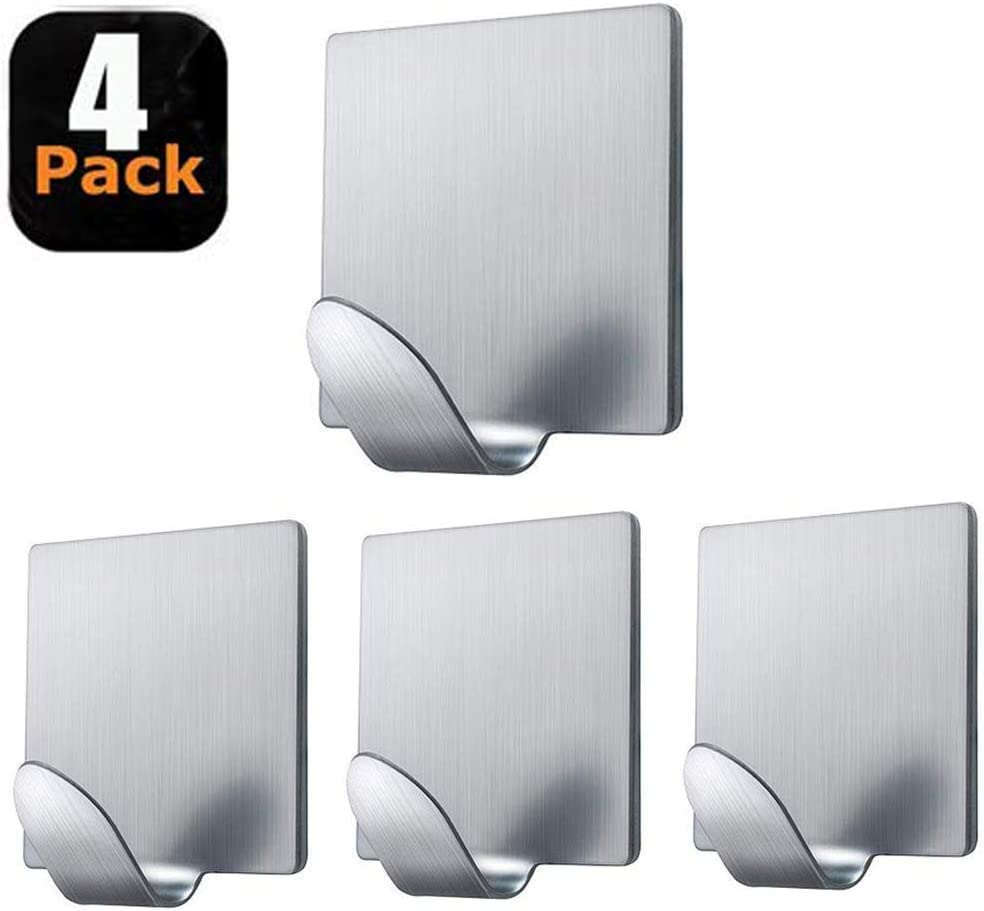 Fotosnow Adhesive Hooks Heavy Duty Stainless Steel Wall Hooks Hangers Stick on Hooks for Hanging Robes, Towels, Hats-4 Pack