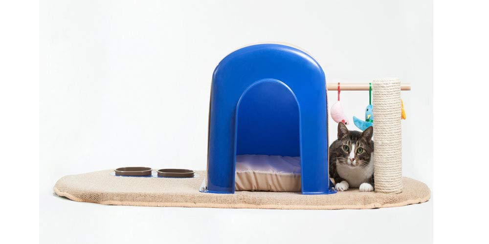 bluee Beige Cat Pet Condo. 16  Modern Cat Condo. with Plastic Frame and Wood Base. 2lbs Weight Capacity (bluee Beige)