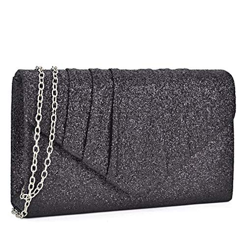(Dasein Women Glistening Evening Bags Pleated Clutch Handbags Wedding Purses Cocktail Prom Hand Pouch)
