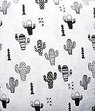 Nate & Nat 4 Piece Cotton Flannel King Size Bed Sheet Set Desert Saguaro Cactus Southwest Aztec Geometric Patterns Black on White