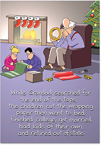12 'Sticky Tape' Boxed Christmas Funny Note Cards with Envelopes (4.75 x 6.62 Inch) Merry Xmas Greeting Cards with Grandpa Comic, Hilarious Stationery for Holidays, Gifts, Parents, Grandparents B1701