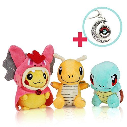 "Special Necklace - Squirtle - Dragonite - Pokemon (Mega Charizard Y Pikachu) 5-6"" Stuffed / Enjoy the Pokémon Plush Toy with Pokemon Game Cards!"
