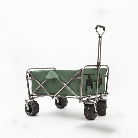 WLWWY Carro Al Aire Libre Plegable, Carro De Jardín, Carro De Mano Del Carro De Tirón Plegable Carro De Camping Carro Plegable Portátil Carro De Transporte Del Jardín 80Kg Capacidad De Carga,Green: