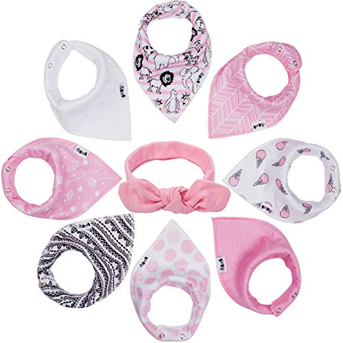 BooBooJr Baby Bandana Drool Bibs for Girls with Headband Included | 8 Infant Bibs Set for Teething, Drooling with Extra Soft Cotton to Avoid Drool Rashes | Thick & Absorbent Adjustable Bibs
