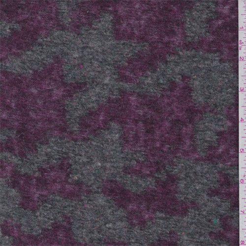 Grey/Burgundy Houndstooth Boiled Wool Knit, Fabric by The Yard -
