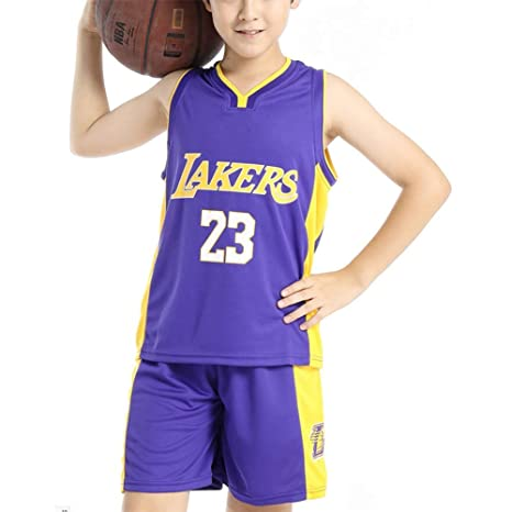 more photos 30cfa 589b4 Hanbao Kids Basketball Uniform Set- Summer Basketball Jersey NBA Lakers #23  James Fan Edition-Classic Basketball Swingman Jersey Sleeveless Top&Shorts