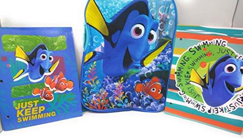 Finding Dory Nemo Back to School Bundle BackPack Bookbag Folder Notebook Toddlers Kindergarten Elementary 3 Piece Set D