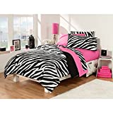 Gorgeous Vibrant Zebra Stripe Design Twin Extra Long 30 Piece Dorm Room Superset Beautiful Colorful Black White Pink Animal Print Pattern Warm Comfort Soft Fabric Chic Decorative Set Addition To Room
