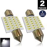 LUYED 2 X 300 Lumens Super Bright 3014 24-EX Chipsets 1.25 inches DE3175 DE3021 DE3022 3175 LED Bulbs Used For Dome light,Xenon White