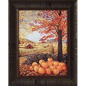 Autumn Splendor by Glynda Turley 17x21 Fall Leaves Farm Barn Pumpkins Corn Stalks Framed Art Print Picture