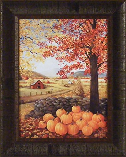 Autumn Splendor 17x21 Fall Leaves Farm Barn Pumpkins Corn Stalks Framed Art Print Picture
