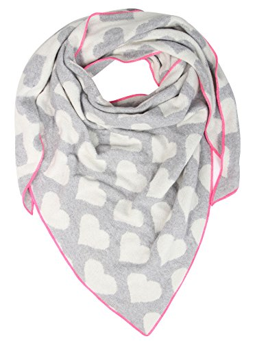 Cashmere Dreams Warehouse Sale% Overstock! Excess Inventory Soft Triangle Scarf with Hearts-Premium Quality Warm Knitwear