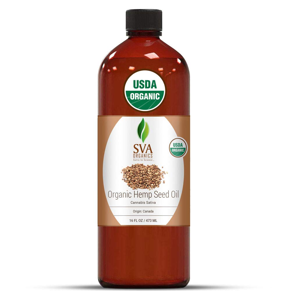 SVA Organics Hemp Seed Organic USDA Cold Pressed Oil 16 Oz Pure Carrier Oil for Skin Cream, Face Serum, Hair Products, Cosmetics, Makeup, Soap, Hair & Body Oil