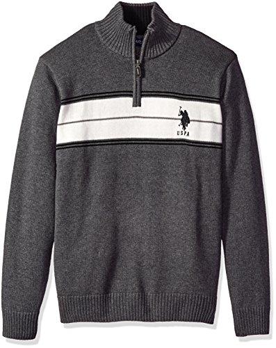 U.S. Polo Assn. Men's Chest Stripe 1/4 Zip Sweater