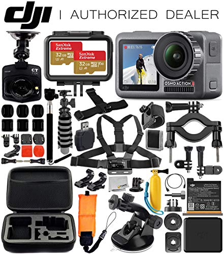 DJI Osmo Action 4K Camera with Free Promotional Dash Cam & Deluxe Accessory Bundle - Includes: 2X SanDisk Extreme 32GB microSDHC Memory Card, Carrying Case, Selfie Stick, Flexible Tripod & More