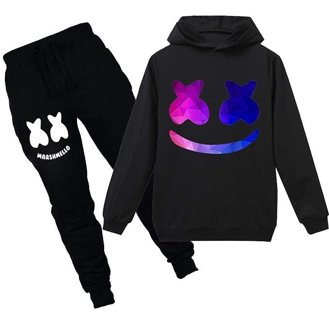 c705e51ec Silver Basic Teen Boys Youth DJ Marshmello Hoodies Set Girls Pullover Cool Sweatshirt  Hoodie Pants Sets
