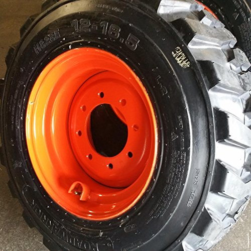 SET OF FOUR (4) 12-16.5 SKID STEER LOADER TIRE S with ORANGE Color Rims mounted, 14 PLY, NHS SKS 400-12x16.5