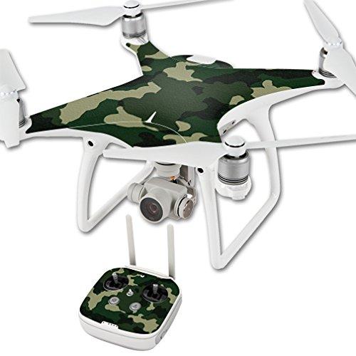 MightySkins Skin Compatible with DJI Phantom 4 Quadcopter Drone wrap Cover Sticker Skins Green Camo