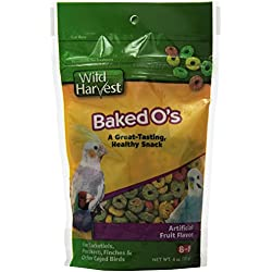 Wild Harvest Baked O's Snack for Cockatiels/Parakeets/Finches/Caged Birds, 4-Ounce (P-84149)