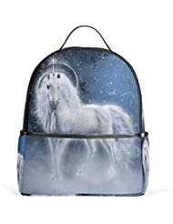 JSTEL White Unicorn School Backpack 4th 5th 6th Grade for Boys Teen Girls Kids
