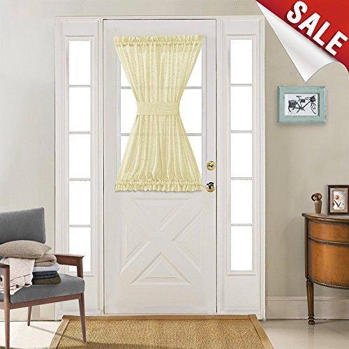 jinchan Privacy Sheer French Door Curtains Linen Textured Look French Door Panels with 1 Tieback,1 Panel, 52 by 40 Inch Long, Ivory (Door Back Panel Tie)