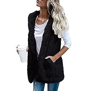 Women Fur Vest Sherpa Fleece Sleeveless Hooded Jacket Zipper Hoodie Outwear (Black, L)