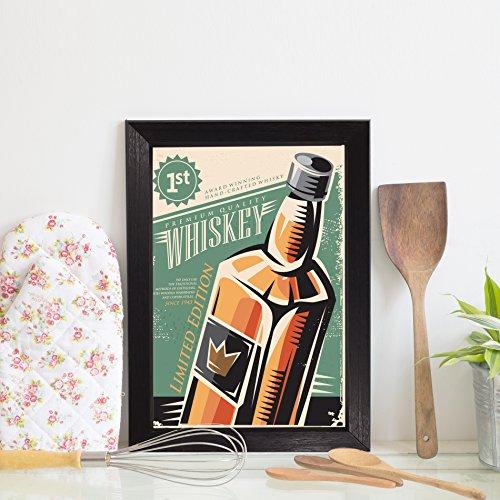 Quadro Bebida Vintage Whisky 22x32cm Moldura Preta