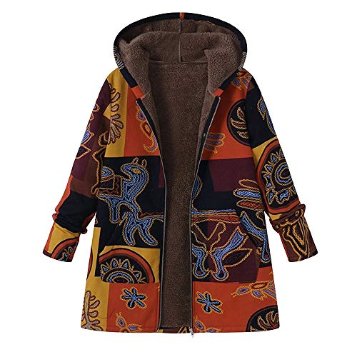 Faux Suede Hooded Coat - JESPER Women Hooded Fleece Lining Cotton Linen Print Fluffy Fur Zipper Coat Outwear Yellow