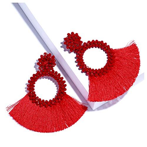 Dvacaman Hoop Tassel Earrings for Women - Statement Handmade Beaded Fringe Dangle Earrings, Idea Gift for Mom, Sister and Friend (Red)